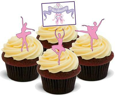 NOVELTY Ballet Dancer PINK Mix STAND UP / Icing Edible Cake Toppers Birthday • 2.75£