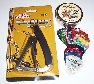 AU19.99 • Buy Acoustic GUITAR CAPO + 12  Picks Tin  &  Guitar Cleaning Cloth !  -  FREE POST !