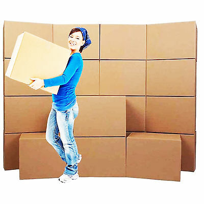 NEW 20 X LARGE DOUBLE WALL Cardboard House Moving Boxes - Removal Packing Box • 23.31£