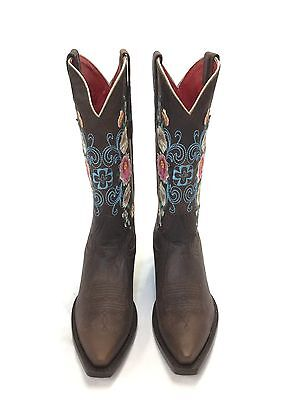$125 • Buy Women's Macie Bean Boots, Brown Pointed Toe W/Embroidered Flower Tops
