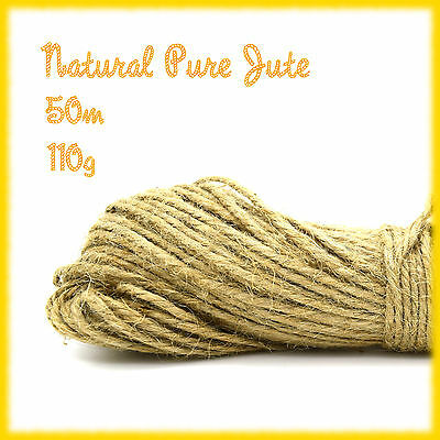 50m 110g Pure Jute Fibre 3 Ply Brown Hessian String Cord Twine Rustic Decor DIY • 3.25£