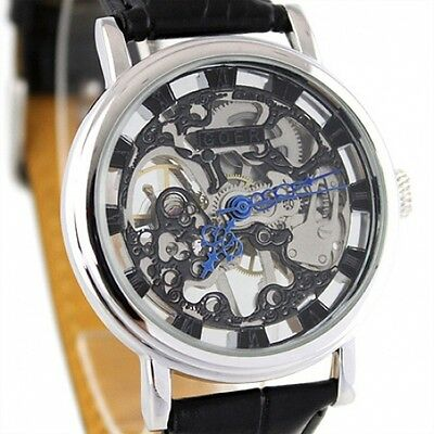 £32.99 • Buy Silver Steampunk Heirloom Mechanical Wind-up Skeleton Black Leather Luxury Watch