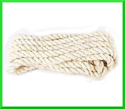 12mm Natural Sisal Rope Twisted Braided,Decking,Garden,Cat Scratching Post,Craft • 4.38£