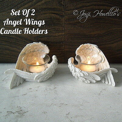 Set Of 2 ANGEL WINGS Tea Light CANDLE HOLDER Feathered WINGS Memorial Ornaments  • 11.90£
