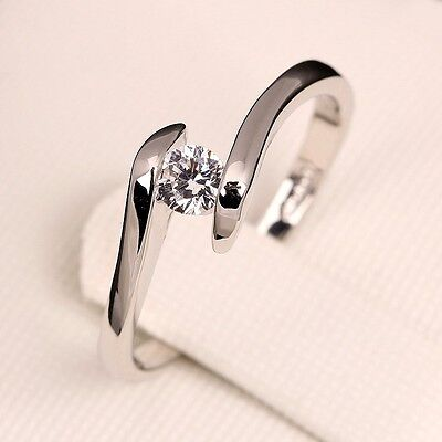 Ladies Silver Plated Promise Solitaire Crossover Engagement Wedding Ring Gift • 4.90£