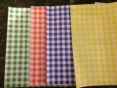 £5.99 • Buy 50 Sheets Quality Gingham Duplex Greaseproof Paper Food Wrap Chip Basket Liners