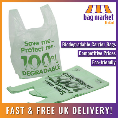 100 X Large Biodegradable Carrier Bags! | 11 X 17 X 21  | Oxo/Shop/Plastic/Eco • 4.99£