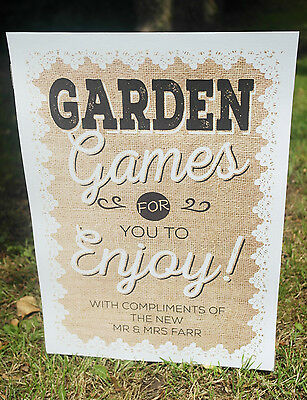 PERSONALISED Hessian & Lace Style Lawn GARDEN GAMES Wedding Party Print Sign • 10£