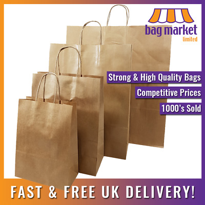 £9.99 • Buy Strong Brown Twisted Handle Ribbed Pure Kraft Paper Bags | Gift/Fashion/Party