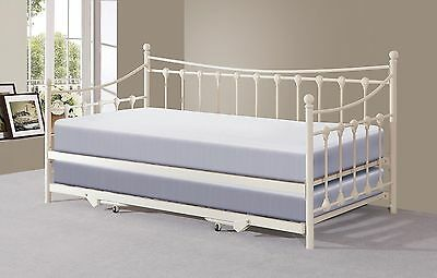 £214.95 • Buy Memphis White Metal Guest Day Bed With Pull Out Trundle Bed - Optional Mattress
