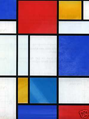 £9.95 • Buy Self Adhesive Window Covering Mondrian Red Blue Stained Glass Effect Vinyl Film