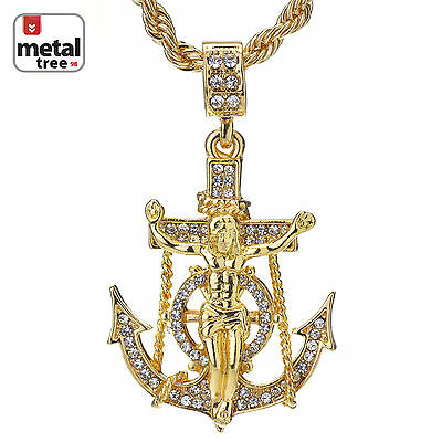 $12.34 • Buy Men's Hip Hop 14K Gold Plated Anchor Jesus Cross Pendant 24  Rope Chain Necklace