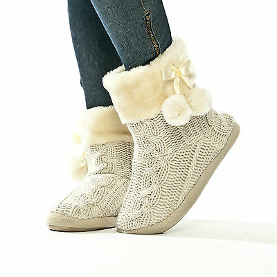 £18.99 • Buy Slippers Womens Indoor Slipper Boots Ladies Bootie Knitted Size 3 4 5 6 7 8