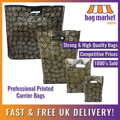 Strong Black & Gold Printed Carrier Bags | Fashion/Gift/Boutique/Jewellery/Party • 5.25£