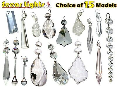 £15.99 • Buy Cut Glass Crystals Chandelier Droplets Wedding Drops Beads Light Spare Parts