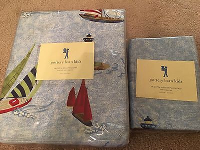 $145 • Buy New Pottery Barn Kids Nautical Sailboat Twin Duvet Cover And Pillowcase Regatta