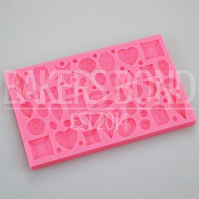 Multi Jewelled Diamond Shape Jewels And Gems Silicone Mould Vintage Topper Cake • 5.50£