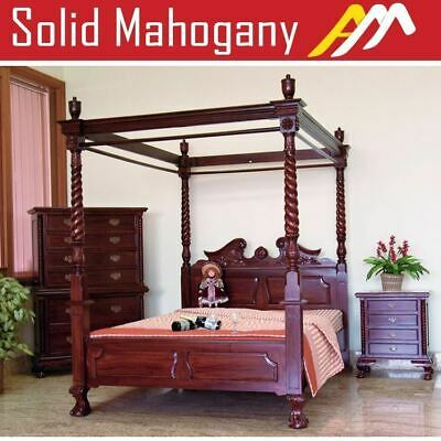 AU2490 • Buy Solid Mahogany Wood Chippendale 4 Poster Bed Queen King Size Antique Style