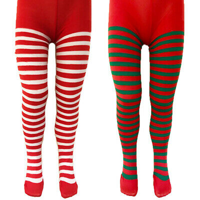 Ladies Womens Christmas Xmas Tights Elf Santa Fancy Dress Costume Striped Stripe • 3.95£