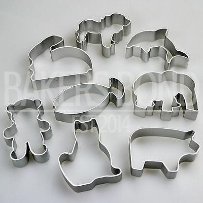 Animal Shapes Set Of 8 Metal Cookie Cutters Dog Cat Rabbit Fish Bear Biscuit • 5.85£
