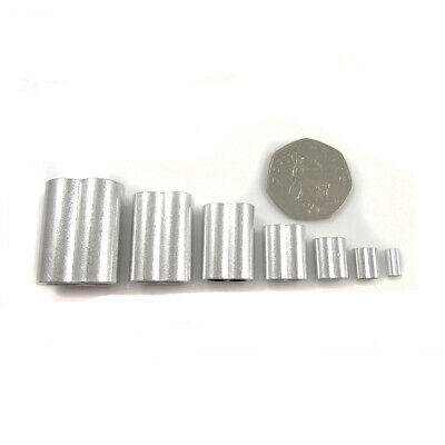 ALUMINIUM CRIMPS 1mm - 8mm *7 SIZES* FERRULES FOR  STEEL WIRE ROPE CABLE UK • 1.99£