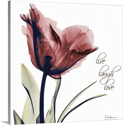 Tulip Live, Laugh, Love X-ray Canvas Wall Art Print, Inspirational Home Decor • 67.38£