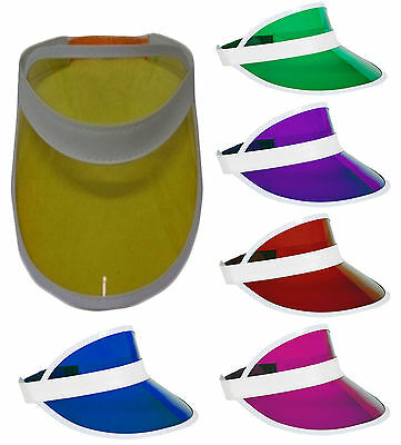New Unisex Sun Visor Pub Golf Poker Colour Clear Hat Vegas Cap 80's Fancy Dress • 5.99£