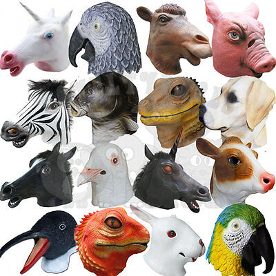 Latex Overhead Animal Fancy Party Dress Cosplay Carnival Costume Farmyard Mask • 15.50£