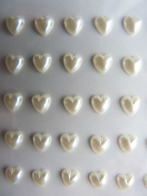ADHESIVE PEARLS HEART SHAPED GEM STICKERS For Wedding Card Making & Scrapbooking • 1.99£