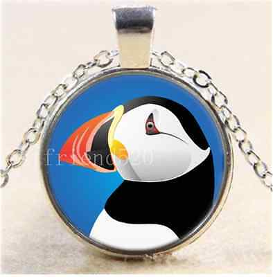 £1.74 • Buy Cute Puffin Photo Cabochon Glass Tibet Silver Chain Pendant Necklace