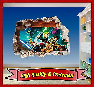 Lego Star Wars Hole In Wall 2 - Print Vinyl Sticker Decal Childrens Bedroom Boys • 10.99£