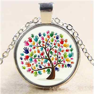 £1.55 • Buy Autism Tree Photo Cabochon Glass Tibet Silver Chain Pendant Necklace