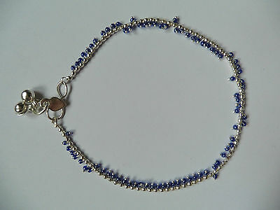 £2.50 • Buy One White Metal Silver Colour Indian Anklet With Bells And Various Bead Colours