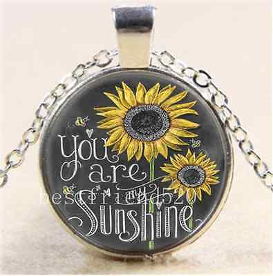 AU2.79 • Buy Sunflower You Are My Sunshine Glass Tibet Silver Chain Pendant Necklace