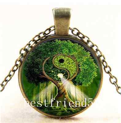 AU2.79 • Buy Vintage Ying Yang Tree Of Life Cabochon Glass Bronze Chain Pendant Necklace