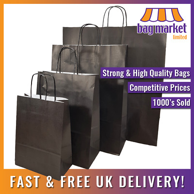£5.25 • Buy Strong Black Twisted Handle Ribbed Paper Bags | Kraft/Shop/Gift/Fashion/Party