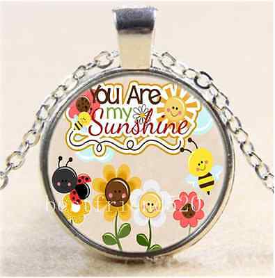 AU2.79 • Buy Cartoon You Are My Sunshine Cabochon Glass Tibet Silver Chain Necklace