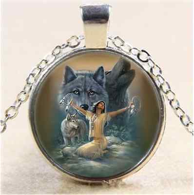 £1.85 • Buy Girl And Wolf Photo Cabochon Glass Tibet Silver Chain Pendant  Necklace
