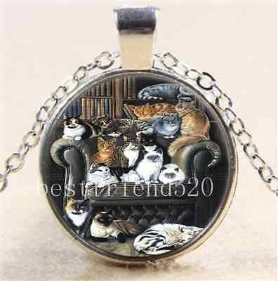 £1.55 • Buy Cat In Libraries Photo Cabochon Glass Tibet Silver Chain Pendant  Necklace