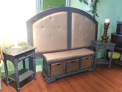 $2199 • Buy Farmhouse Grey Distressed French County King Headboard, Bench, 2 Nightstands