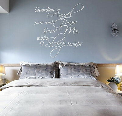 £12.99 • Buy GUARDIAN ANGEL BRIGHT Words Quote Wall ART Sticker UK  SH204