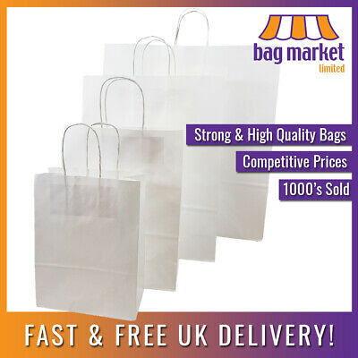 £4.99 • Buy Strong White Ribbed Twisted Handle Paper Bags | Kraft/Twist/Gift/Party/Fashion