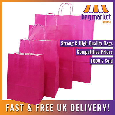 Strong Pink Twisted Handle Paper Bags | Carrier/Shop/Gift/Fashion/Party/Kraft • 11.99£