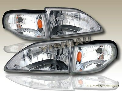 $111.99 • Buy 94-98 Ford Mustang Headlights Chrome Clear LH RH Assembly + Corner Lamps