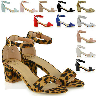 Womens Low Mid Heel Block Peeptoe Ladies Ankle Strap Party Strappy Sandals Shoes • 18.99£