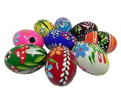 £11.99 • Buy Hand-painted Wooden Easter Eggs Egg Decorations No Plastic Set 10 Eggs