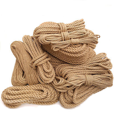 Natural Jute Rope Strong Fibre Craft, DIY, Gardening, Farming, Boating, 6 -30mm • 1.79£