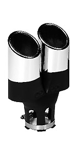 AU49.90 • Buy *Chrome Exhaust Tip Twin Round Design Fits 30-50mm Pipes 5 Year Warranty