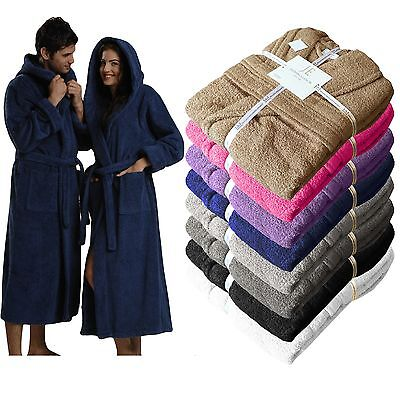 Unisex 100% Egyptian Cotton Terry Towelling Shawl Collar Hooded Bathrobe Gown • 16.99£
