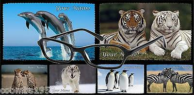 Personalised Glasses Cleaning Cloth Wild Animals Ideal Gift Xmas Birthday • 2.75£